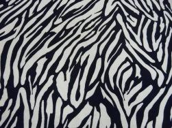 Viskostrikå - Zebraränder marinblå Ökotex