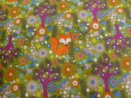 Vävd bomull - Skog & rävar - Välj bottenfärg Ökotex - Olivgrön