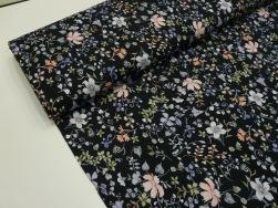 Bomullstrikå - Klassisk blomma mörk marinblå Ökotex