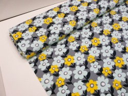 Bomullstrikå - Retro blomma Mintgrön/grå Ökotex