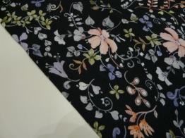 Bomullstrikå - Klassisk blomma mörk marinblå Ökotex -