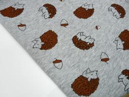 Stretchjogging med fleecebaksida - Igelkott ljusgrå melerad Ökotex - Igelkottar ljusgrå melerad