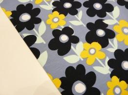 Bomullstrikå - Retro blomma Marin/dovlå Ökotex -