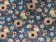 Bomullstrikå - Blommor och fågel jeansblå Ökotex