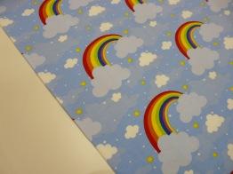 Bomullstrikå - Regnbåge i moln ljusblå multi Ökotex - Regnbåge i moln