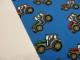 Bomullstrikå - Traktorer klarblå Ökotex - Klarblå