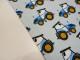 Bomullstrikå - Traktorer ljusblå Ökotex - Ljusblå