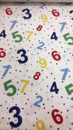 Bomullstrikå - Färgglada siffror och prickar Ökotex - Siffror