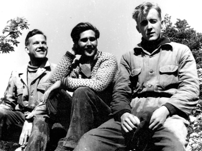 Grottupptäckare Lars Olsson, Örjan Håkansson och Percy Nilsson