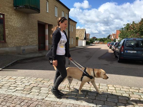 Lärling från Schweiz, Michéle går med labradoren Rex i sele.