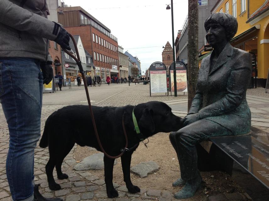 Miljöträning är en mycket viktig del i unghundens träning som du som fodervärd måste introducera. Ser hunden en konstig staty, som på bilden, kan det vara viktigt att den får nosa och se att det inte är något farligt.