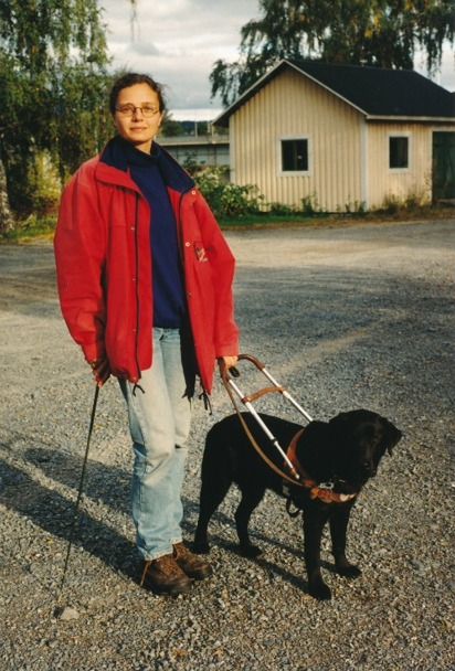 DISAs history. Picture shows Anettes legs and black Labrador in harness.