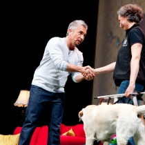 Anette meets Cesar Millan and shows how good dogs behave.