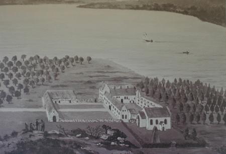 """Bosjökloster från norr i början av 1680-talet. Det taklösa huset utefter gårdens västra sida kallades av folket """"munkalängan"""". Efter Burman-Fischers prospektverk."""
