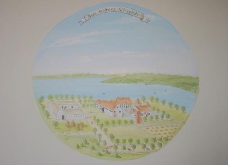 """Denna bild, en kopia av en akvarell från 1700-talets senare del av A. S. Rålamb, återger utseendet hundra år senare då """"munkalängan"""" rivits och ersatts med två paviljonger. Orginalet finns på Kungliga"""