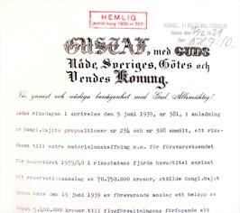 Kungligt brev. Foto: Krigsarkivet