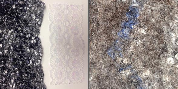Till vänster ser du en vit spets av den typ jag filtade in, fast då i blått, och en sjal som jag också använde. Fibrerna gick väl in i spetsen och skapade en intressant relief.