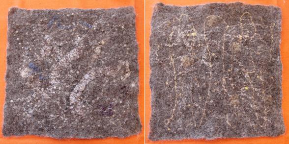 I det här provet har  jag på ena sidan filtat in material i silvert och på den andra i guld för att se hur skillnaden blev i förhållande till den grå ullen.