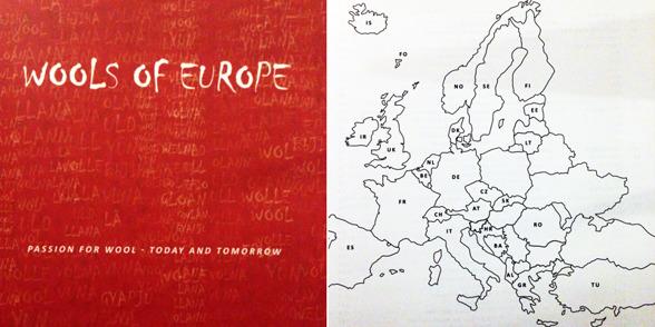 Omslaget till boken Wools of Europe som togs fram i samband med utställningen med samma namn. Utställningen visade ull från lokala får från 27 länder i Europa.