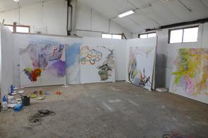 You´re Talking to Me, Painting! Monica Häll. Ateljéinteriör