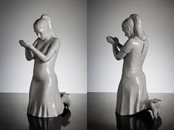 """Annèe Olofsson: """"Eventually it will all go to my head"""", Crackled porcelain figurin/piggy bank portraying the artist, 2009, 35 cm hight, ed 200"""