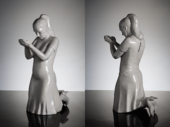 """Annèe Olofsson: """"Eventually it will all go to my head"""". Crackled porcelain figurin (Rörstrand). 2009. Edition 200."""
