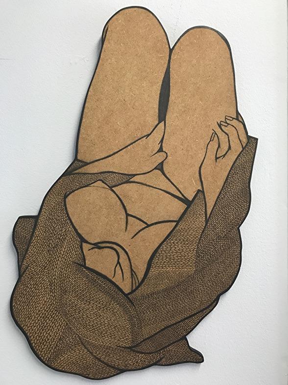 I GALLERIETS SHOWROOM. Kontrapunkt. 2016. Blyertsteckning på MDF. 65 x 42 cm x 1 cm