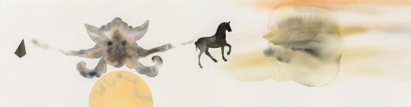 Impulsion. 2018. akvarellmålning. 106 x 28 cm. Foto: Ari Luostarinen.