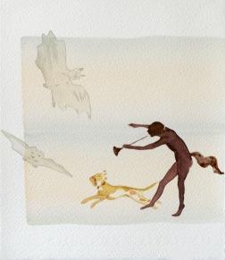 Tail talk. 2013. Akvarellmålning. 27x30 cm. Foto: Ari Luostarinen.