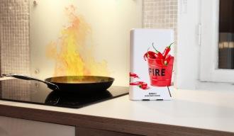 Designad brandfilt utan väggmontering.