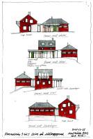 Skiss på tillbyggnad k-märkt hus i Kummelnäs