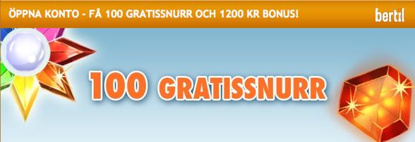 100 gratissnurr i Bertils casino!