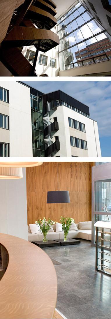 """Plaza Publishings kontor i Stockholm, beläget i Sveriges första """"gröna hus"""" dvs. miljöhus. En modern miljö med mycket glasytor och vackra möbler är arbetsplats cirka 70 personer."""