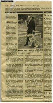 Christopher Östlund, Dagens jubilar när han fyllde 30 år.  Svenska Dagbladet 9 oktober 1996