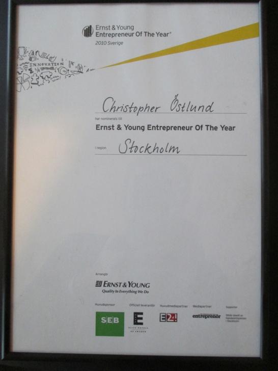 Christopher Östlund nominerad till Årets Entreprenör