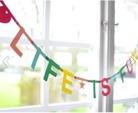 DIY banners med flerfärgade bokstäver
