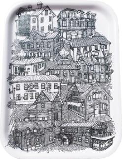 Bricka med hus från Trosa - Bricka
