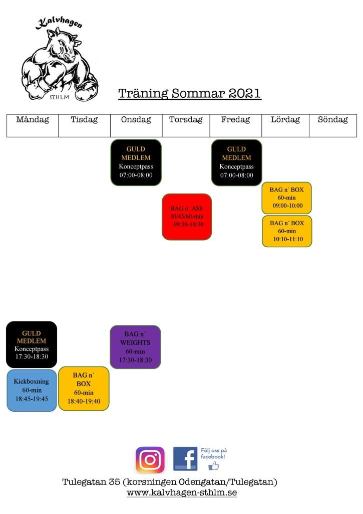 Schema SOMMAR 2021