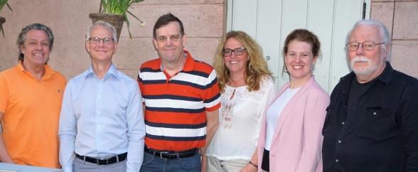 Styrelsen 2017-2021: F. v. Michael Netterstad (ordförande), Claes Wrangberth (ledamot), Håkan Borg (suppleant), Kerstin Blomberg (kassör), Elisabet Borg (ledamot) och Anders Nystedt (ledamot).