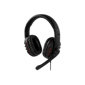 DELTACO headset, sluten, volymkontroll på kabeln, 2×3,5mm, 2,5m kabel, svart/röd