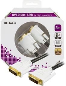 DELTACO DVI monitorkabel Dual Link,DVI-D ha - ha 5m