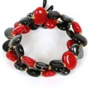 Armband/Bracelets - Flat - Armband/Bracelet Flat - Klarröd+Svart+Tenn/Bright red+Black+Pewter