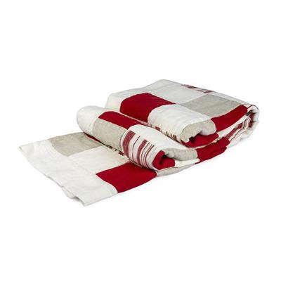 Bädd/Bed: Pläd, Överkast & Kuddvar/Plaid, Bedspread & Cushion case - Pläd Lapptäcke/Plaid Patchwork 115x195 cm: Röd-vit/Red-white