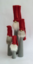 Tomtar/Santas - Långtomte/Tall Santas - 18 cm - Långtomte Grå med Röd luva/Tall Santa Gray with Red cap