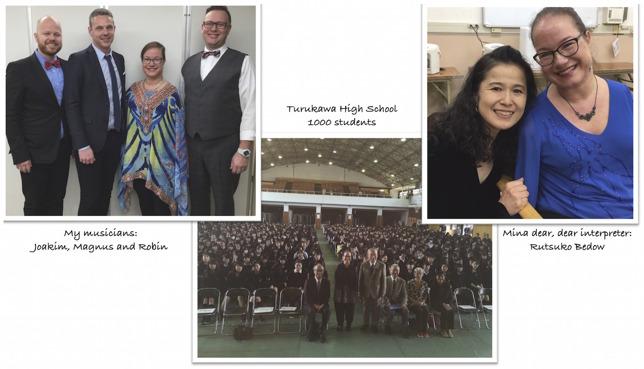 私のバンドメンバー Joakim, Magnus, そしてRobin,  鶴川高校 1000人の生徒たちと,  親愛なる私の通訳者 ベドー・路津子さんと