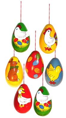 Påskägg i trä, handmålade - Påskägg med kyckling 6 cm