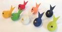 Ljusstake/Candle Holder - Bordsring & dekorationer/Tablering & decorations - 4 pack Fågel/Bird - Vitlaserad/White glazed