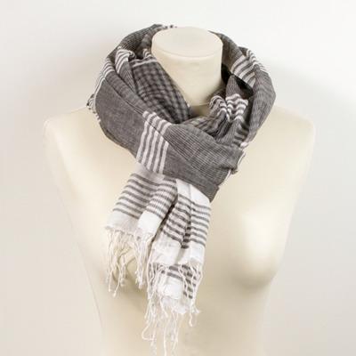 Sjal/Scarf - i ekologisk bomull/in organic cotton - Ekologisk sjal/Eco Scarf: Grå/Gray