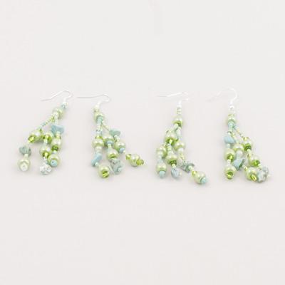 Örhänge av pärlor - Pärlörhänge - Grön