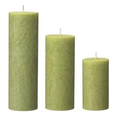 Ljus/Candle - Crystal - Crystel Vårgrön/Spring Green Ø60x200mm